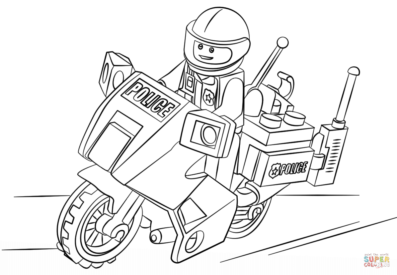 Ausmalbild: Lego Motorad Polizei | Ausmalbilder Kostenlos für Polizei Ausmalbilder