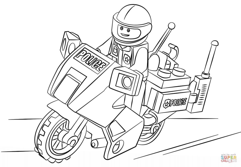 Ausmalbild: Lego Motorad Polizei | Ausmalbilder Kostenlos über Ausmalbilder Polizei