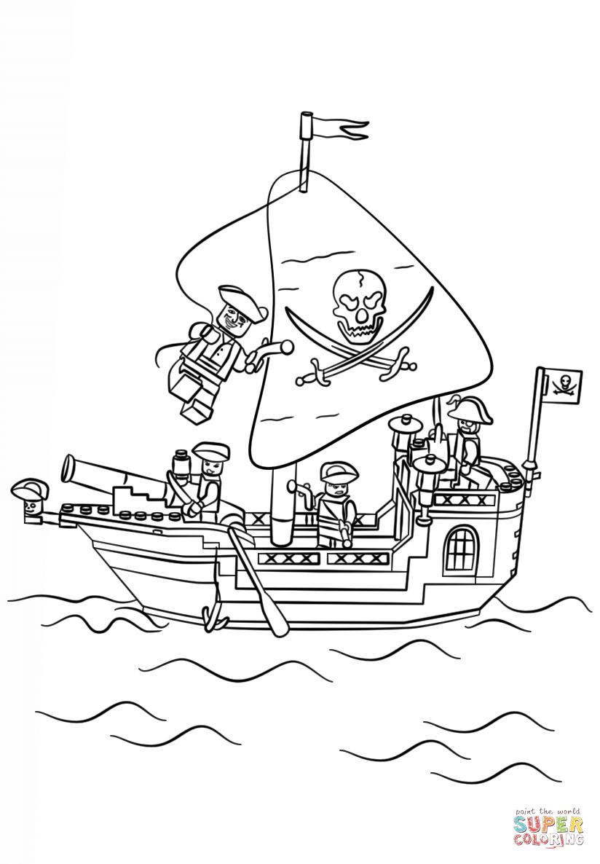 Ausmalbild: Lego Piratenschiff | Ausmalbilder Kostenlos Zum in Malvorlage Piratenschiff
