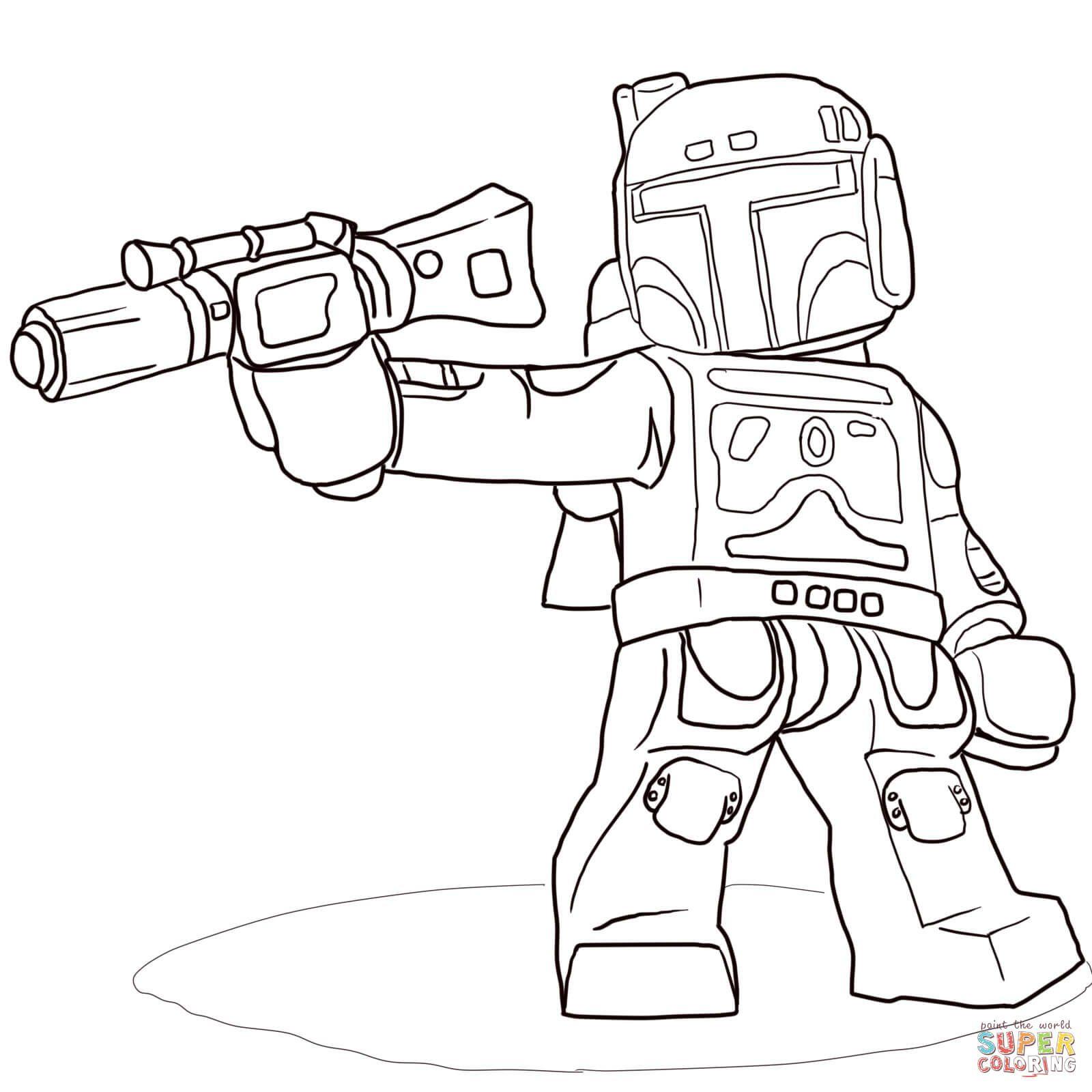 Ausmalbild: Lego Star Wars Boba Fett   Ausmalbilder mit Star Wars Bilder Zum Drucken