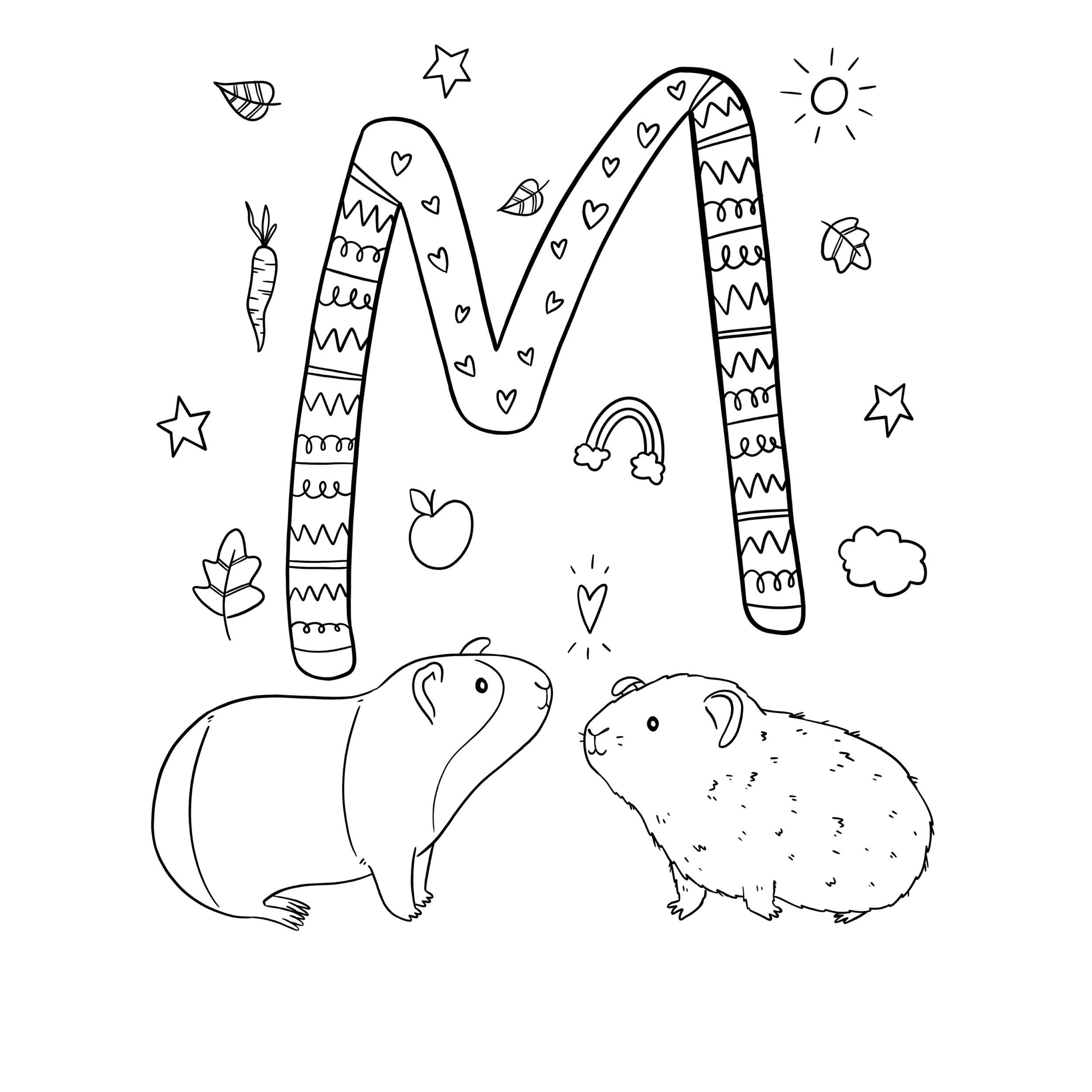 Ausmalbild M Wie Verliebte Meerschweinchen Von Alexa Malt innen Ausmalbild Meerschweinchen