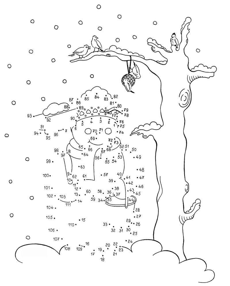Ausmalbild Malen Nach Zahlen: Schneemann Kostenlos bei Weihnachten Malen Nach Zahlen