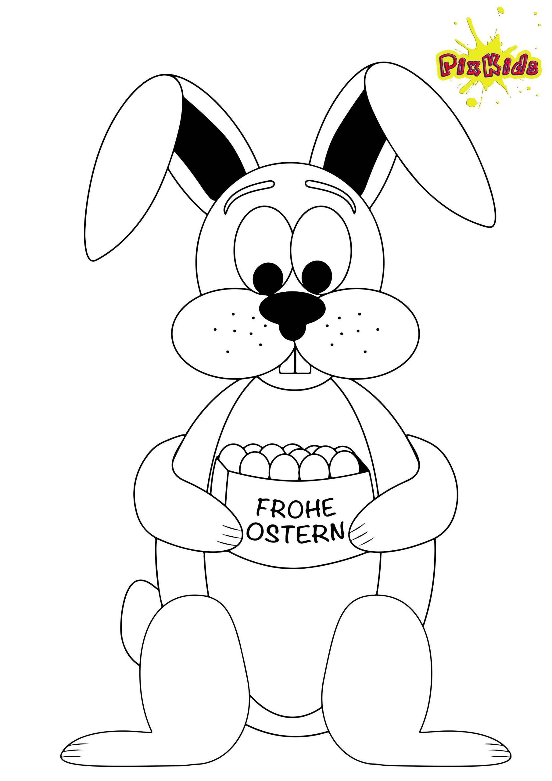 Ausmalbild Osterhase - Kostenlose Malvorlage für Ausmalbilder Osterhasen