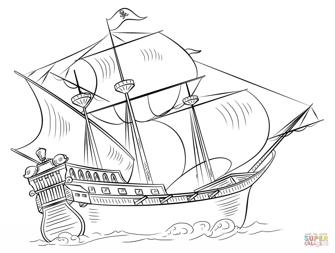 Ausmalbild: Piratenschiff | Ausmalbilder Kostenlos Zum ganzes Malvorlage Piratenschiff