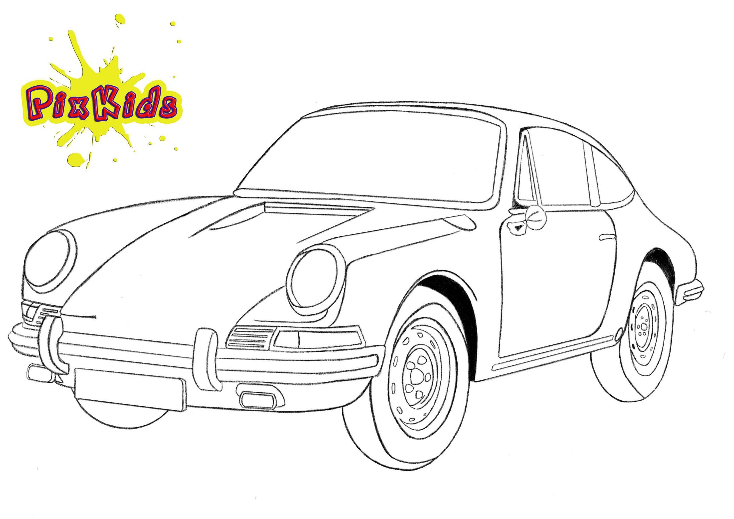 Ausmalbild Porsche 911 - Kostenlose Malvorlagen verwandt mit Ausmalbilder Auto Kostenlos
