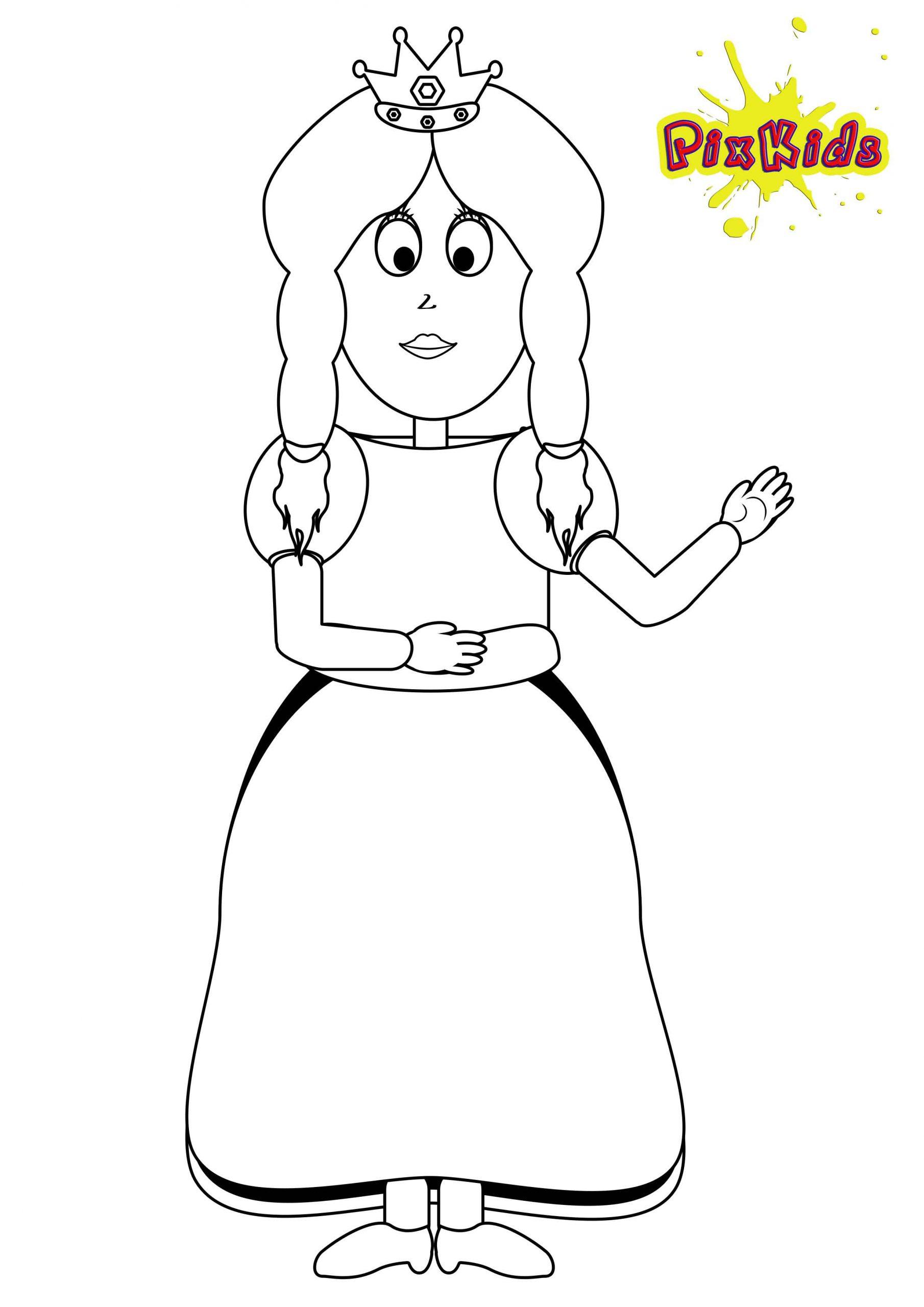 Ausmalbild Prinzessin - Kostenlose Malvorlagen innen Prinzessin Ausmalbilder Zum Ausdrucken