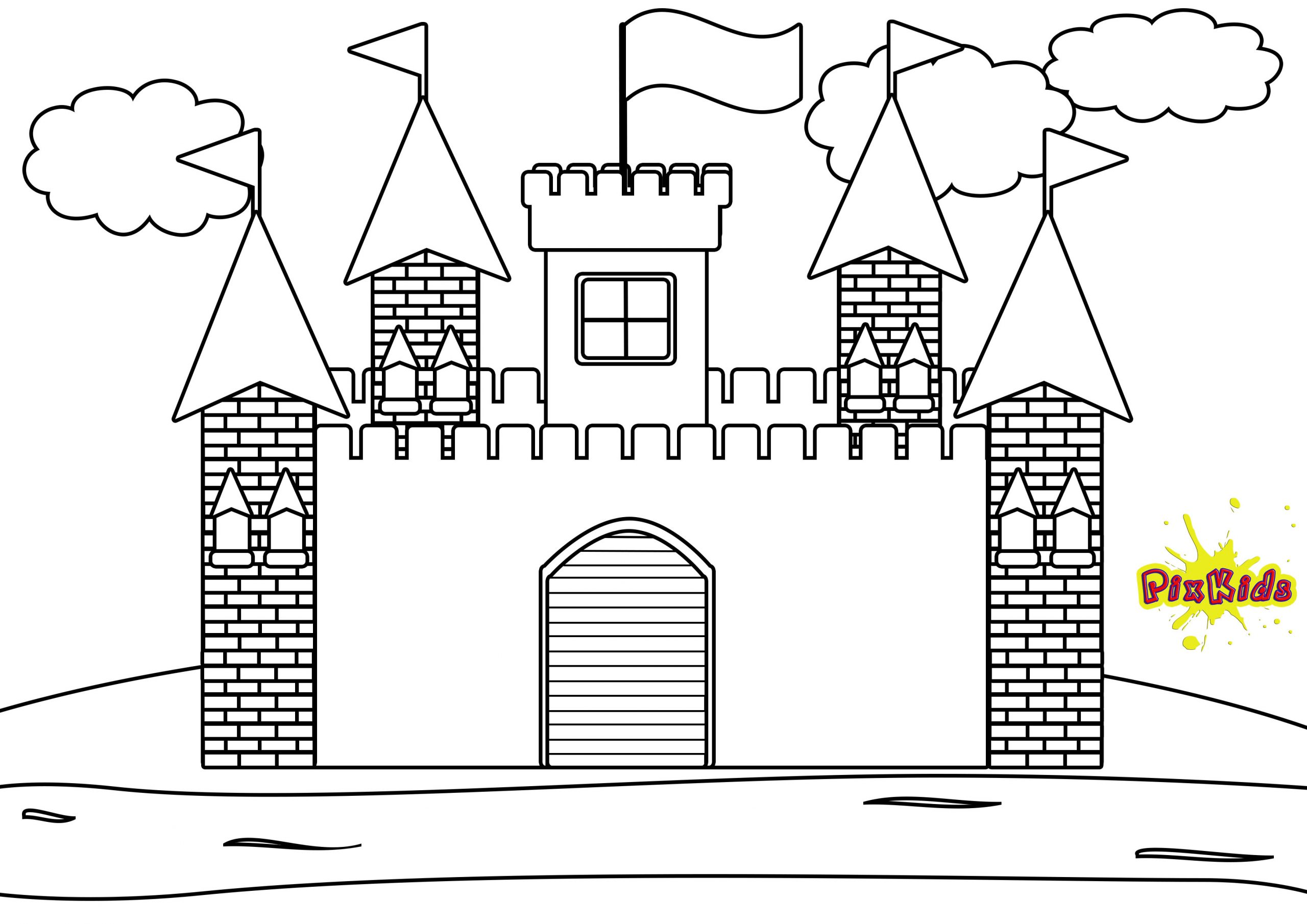 Ausmalbild Ritterburg - Kostenlose Malvorlagen bestimmt für Ausmalbild Burg