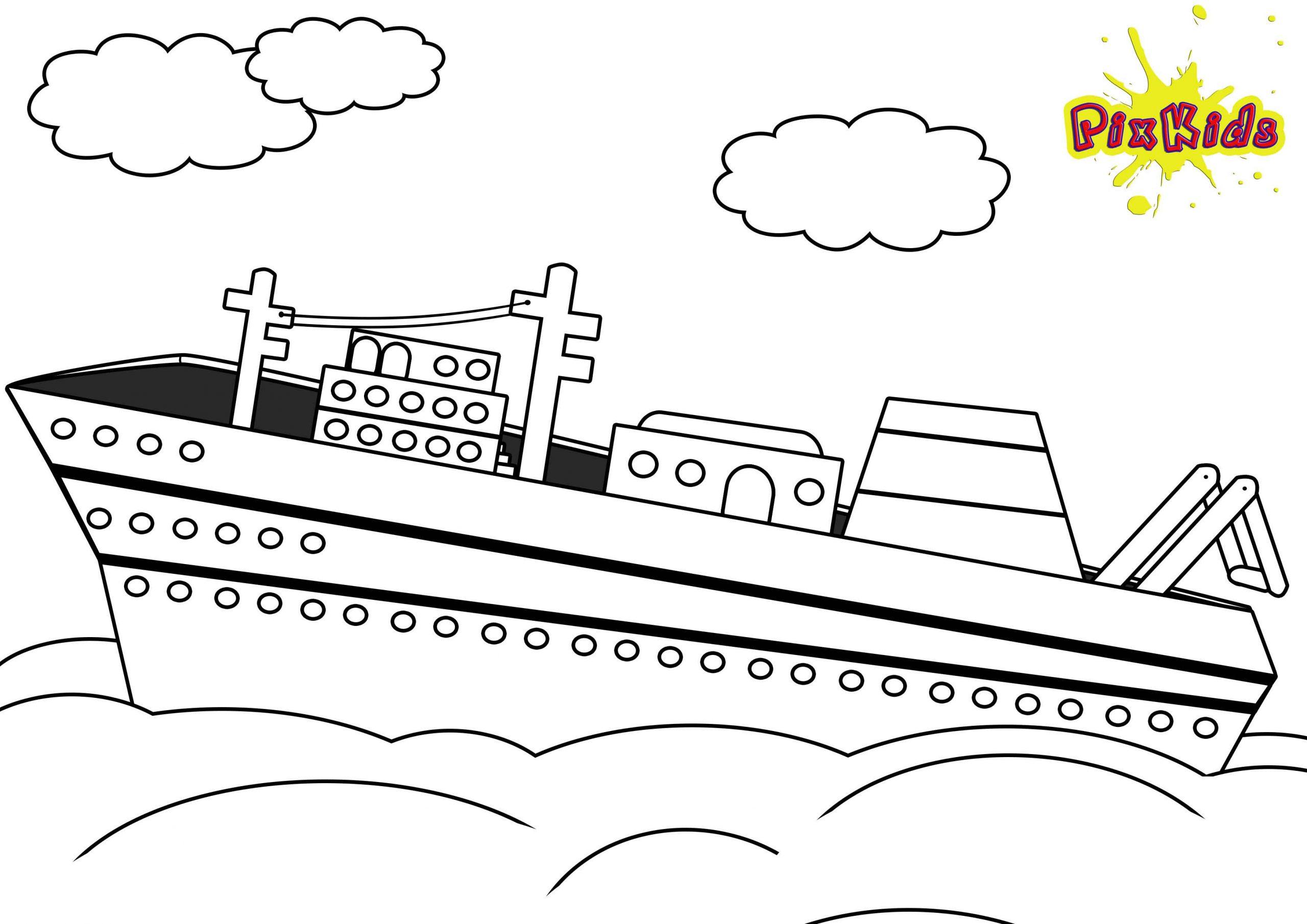 Ausmalbild Schiff Kostenlos - Kostenlose Malvorlagen bei Ausmalbilder Schiffe