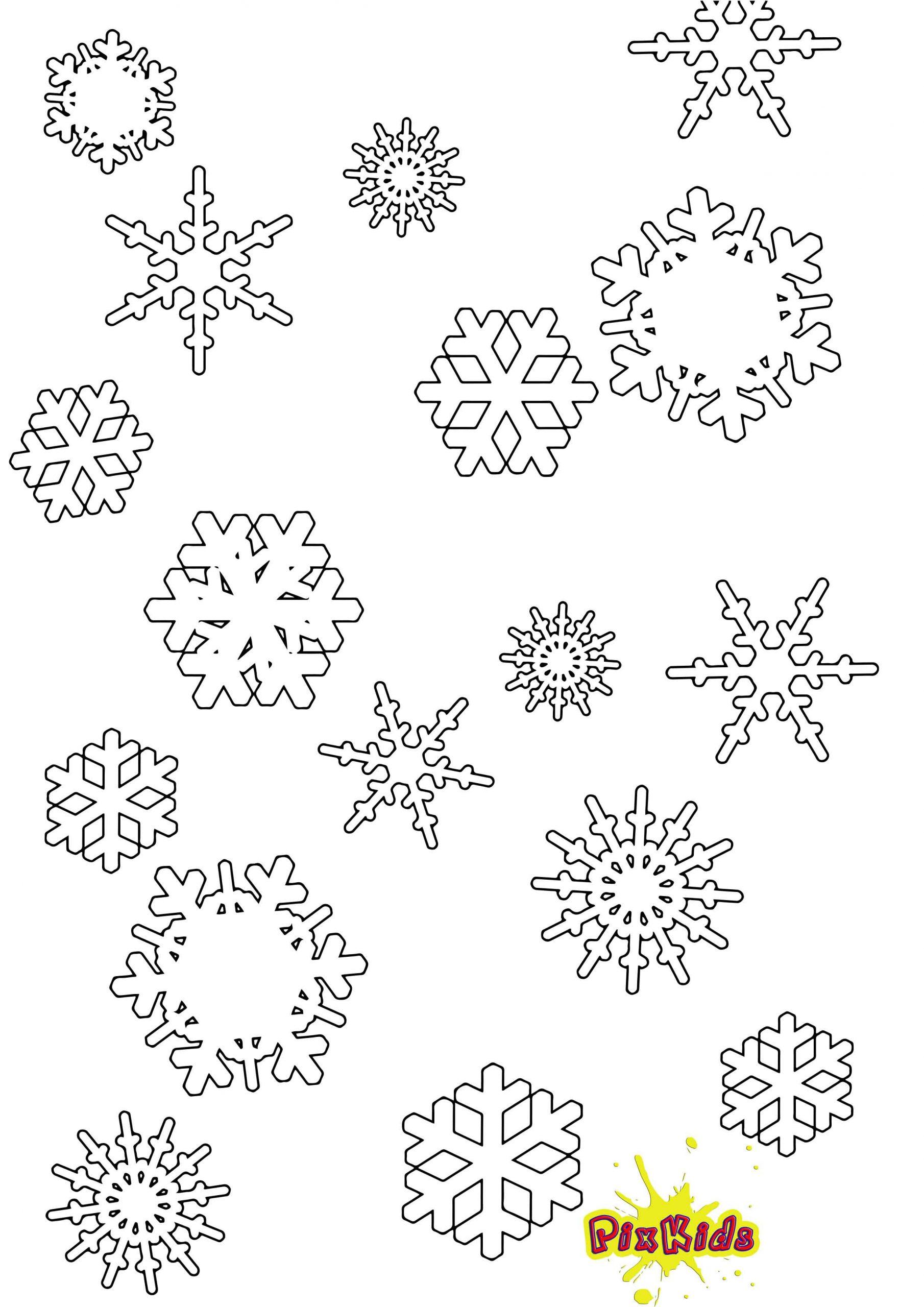 Ausmalbild Schneeflocke - Kostenlose Malvorlage für Winterlandschaft Malvorlage