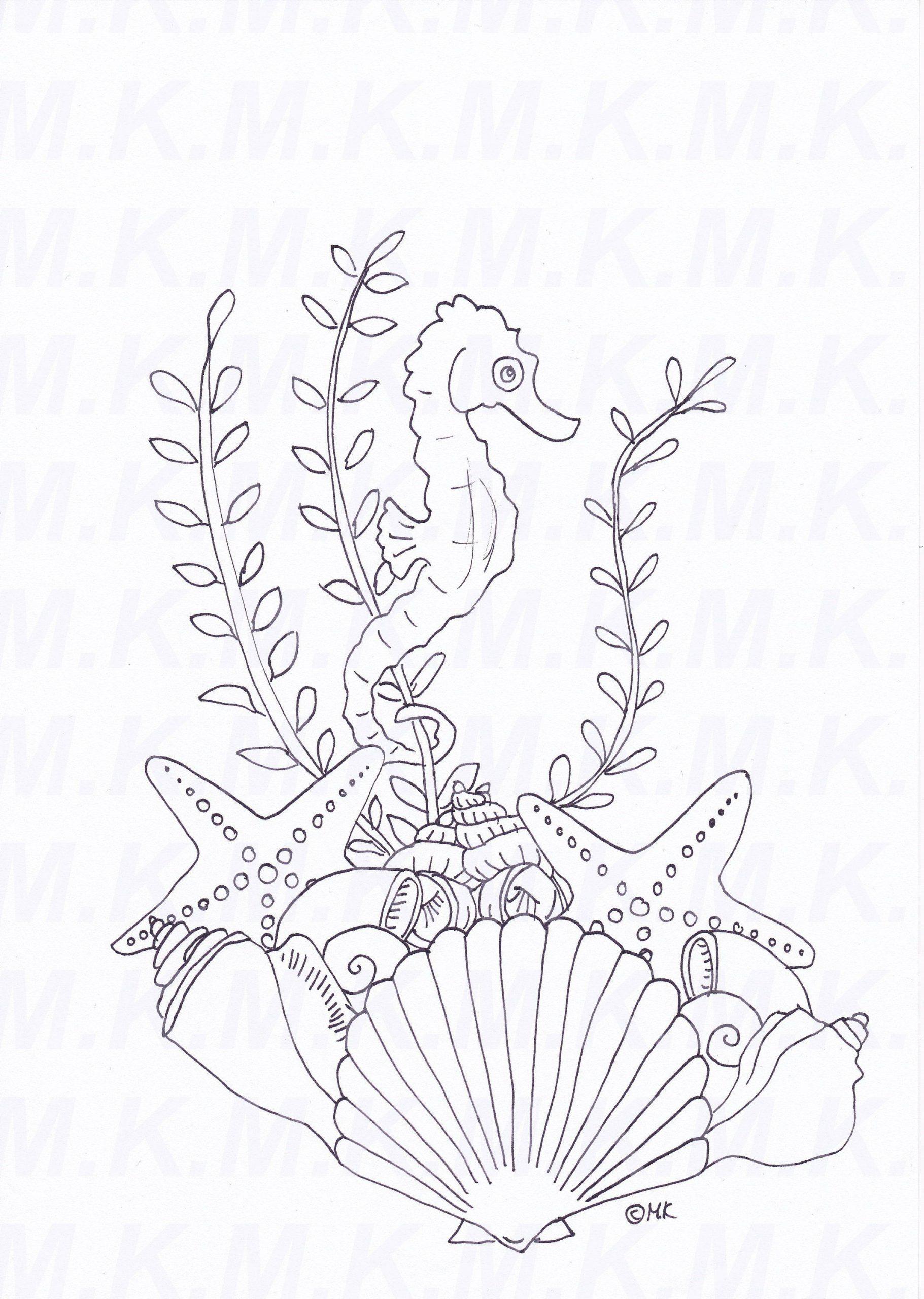 Ausmalbild Seepferdchen Muscheln Meer Handgemalt Von ganzes Ausmalbilder Muscheln