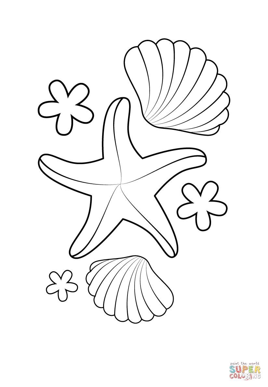 Ausmalbild: Seestern Und Muscheln   Ausmalbilder Kostenlos ganzes Ausmalbilder Muscheln