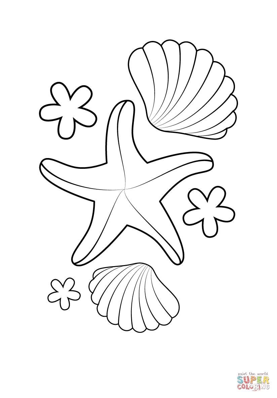 Ausmalbild: Seestern Und Muscheln | Ausmalbilder Kostenlos über Ausmalbilder Seestern