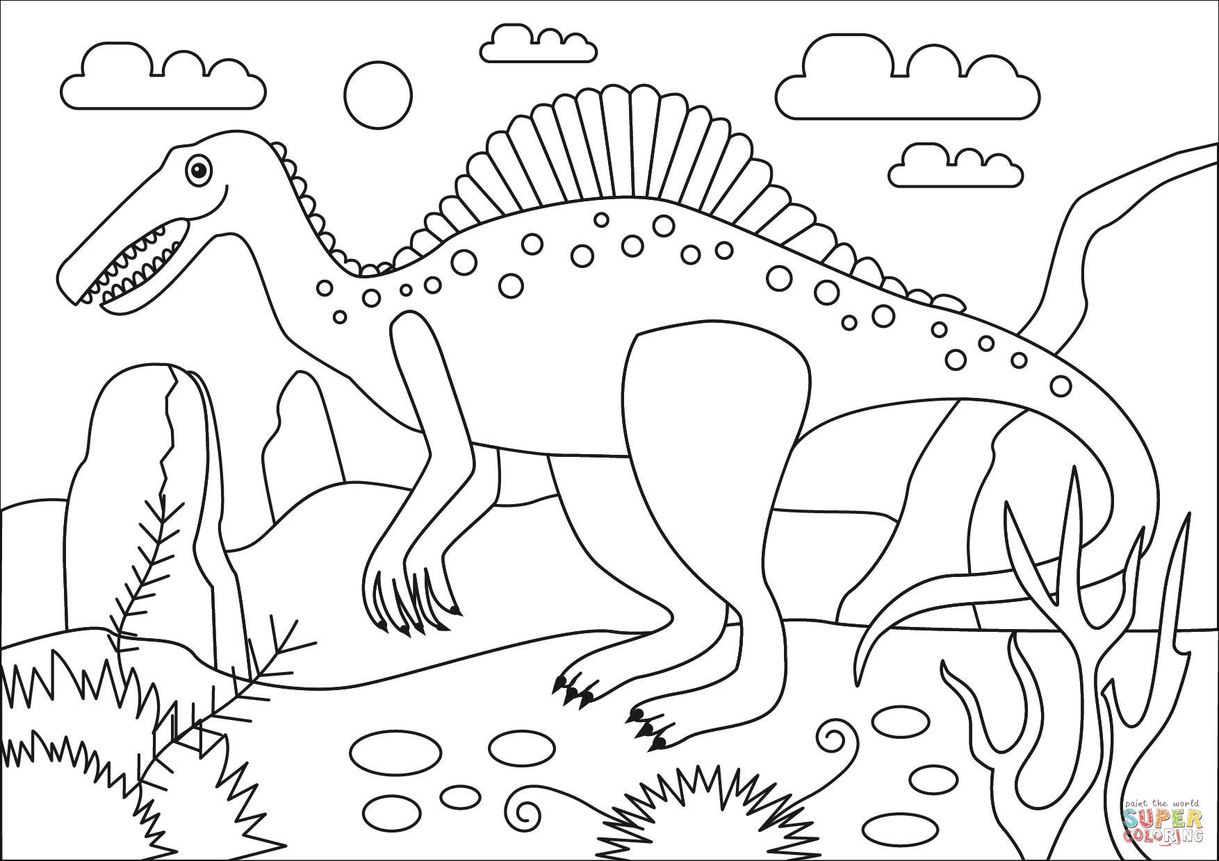 Ausmalbild: Spinosaurus Dinosaurier | Ausmalbilder Kostenlos bei Ausmalbilder Kostenlos Dinosaurier