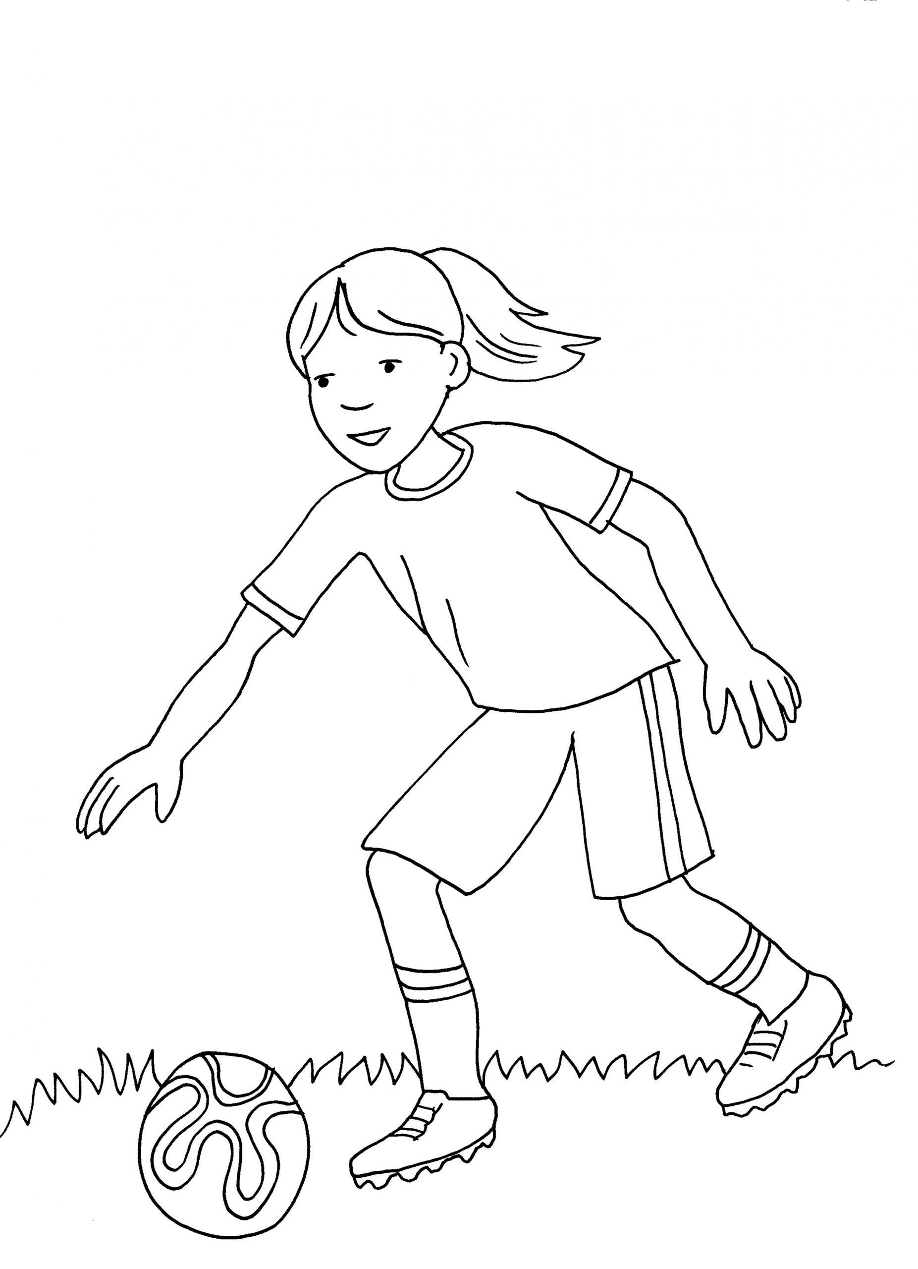 Ausmalbild Sport: Mädchen Spielt Fußball Kostenlos Ausdrucken innen Ausmalbild Mädchen