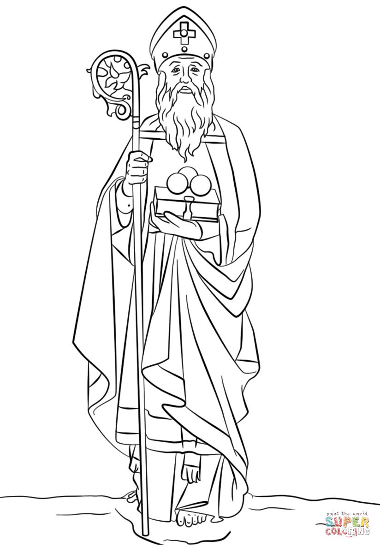 Ausmalbild: St. Nikolaus | Ausmalbilder Kostenlos Zum Ausdrucken ganzes Samichlaus Bilder Zum Ausmalen