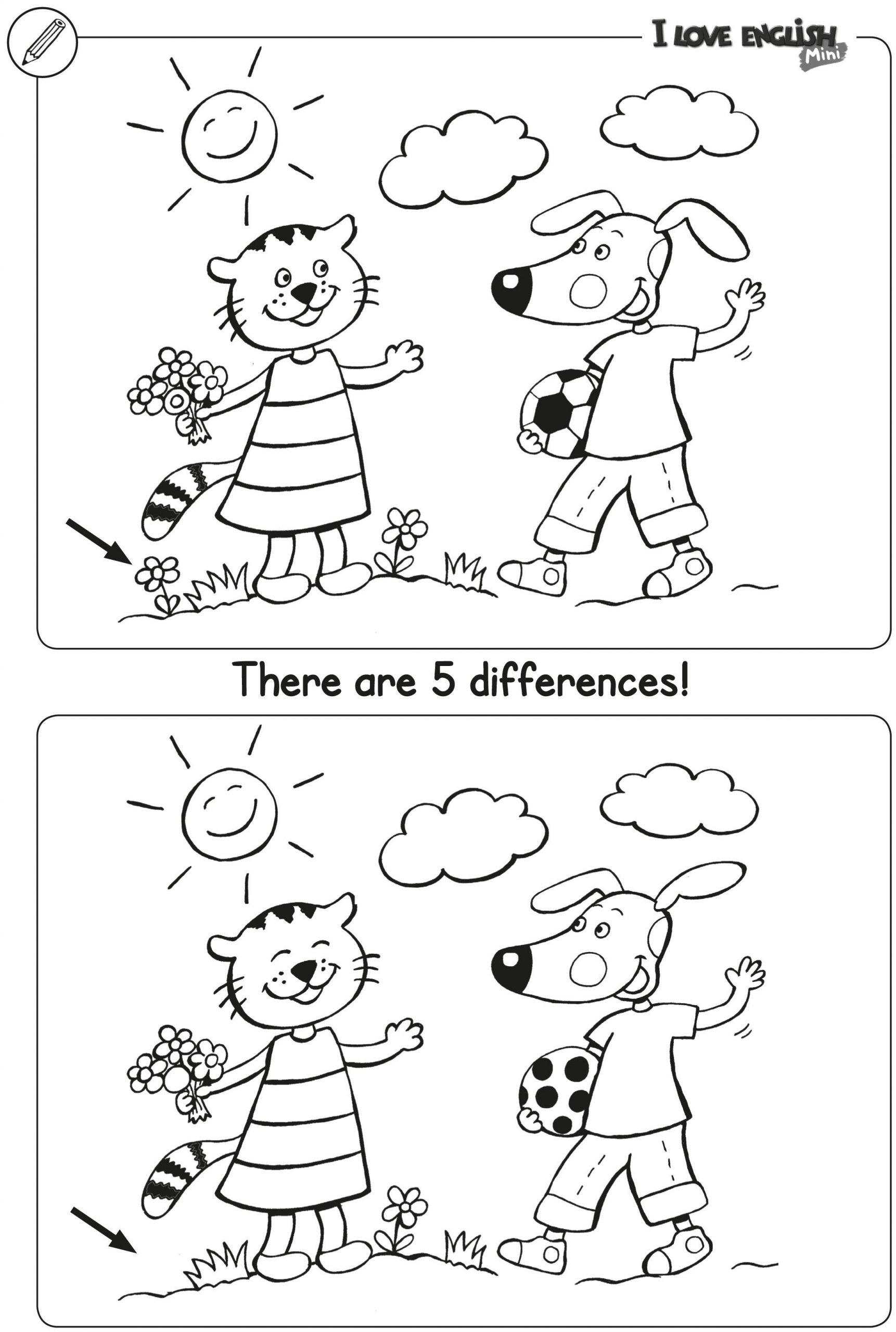 Ausmalbild Suchbilder Für Kinder: I Love English Mini in Unterschiede Finden Kostenlos