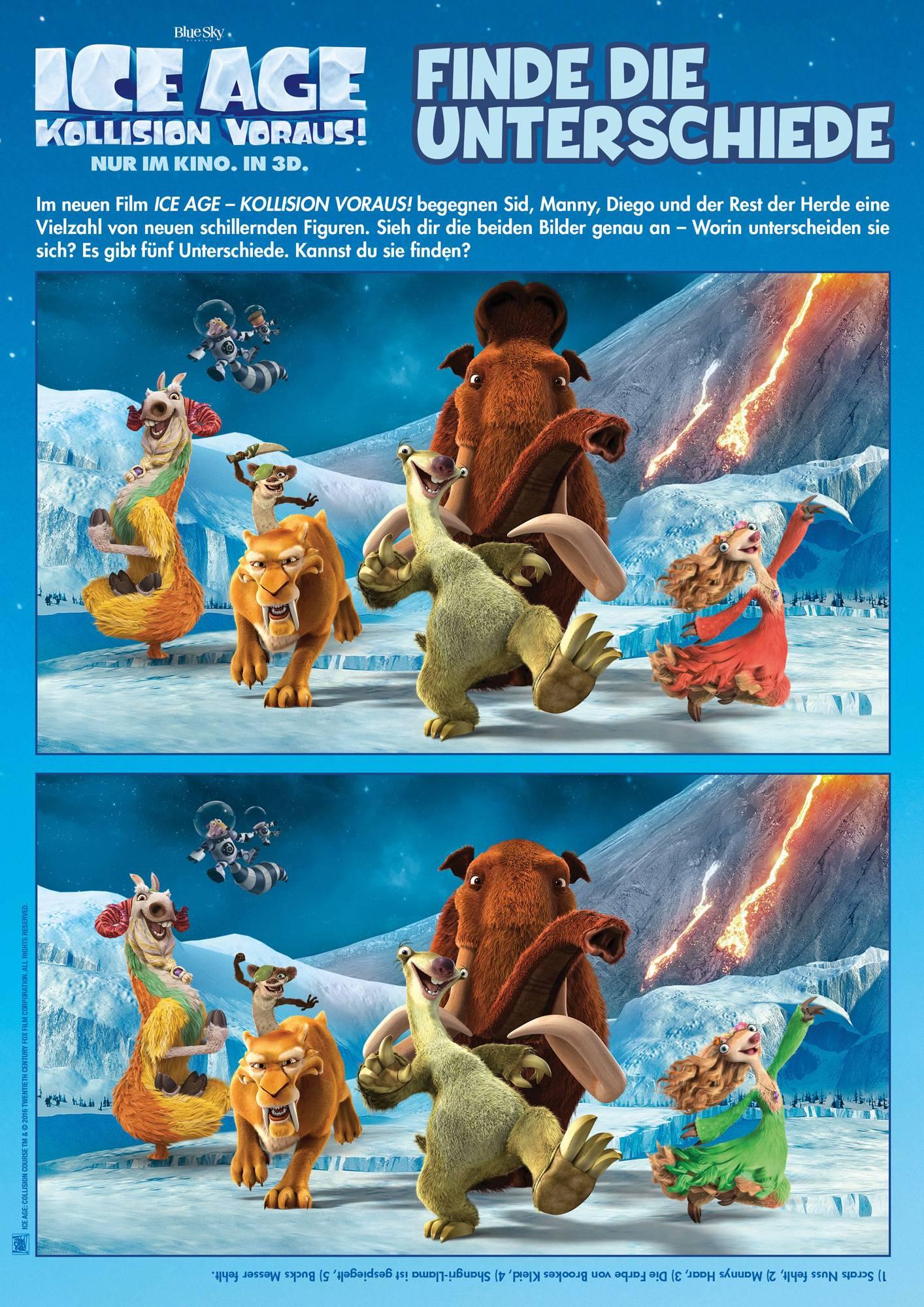 Ausmalbild Suchbilder Für Kinder: Ice Age: Unterschiede bei Unterschiede Finden Kostenlos