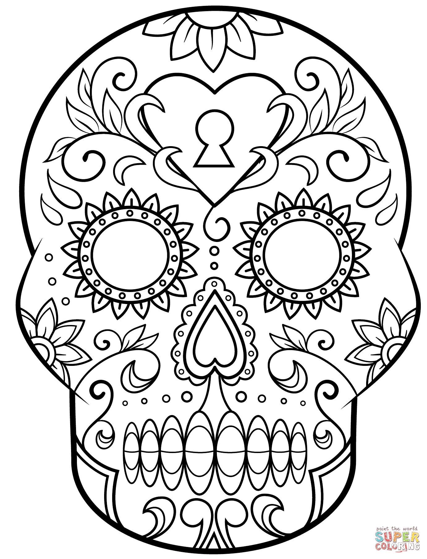 Ausmalbild: Tag Der Toten Zuckerschädel. Kategorien: Tag Der in Totenkopf Zum Ausmalen