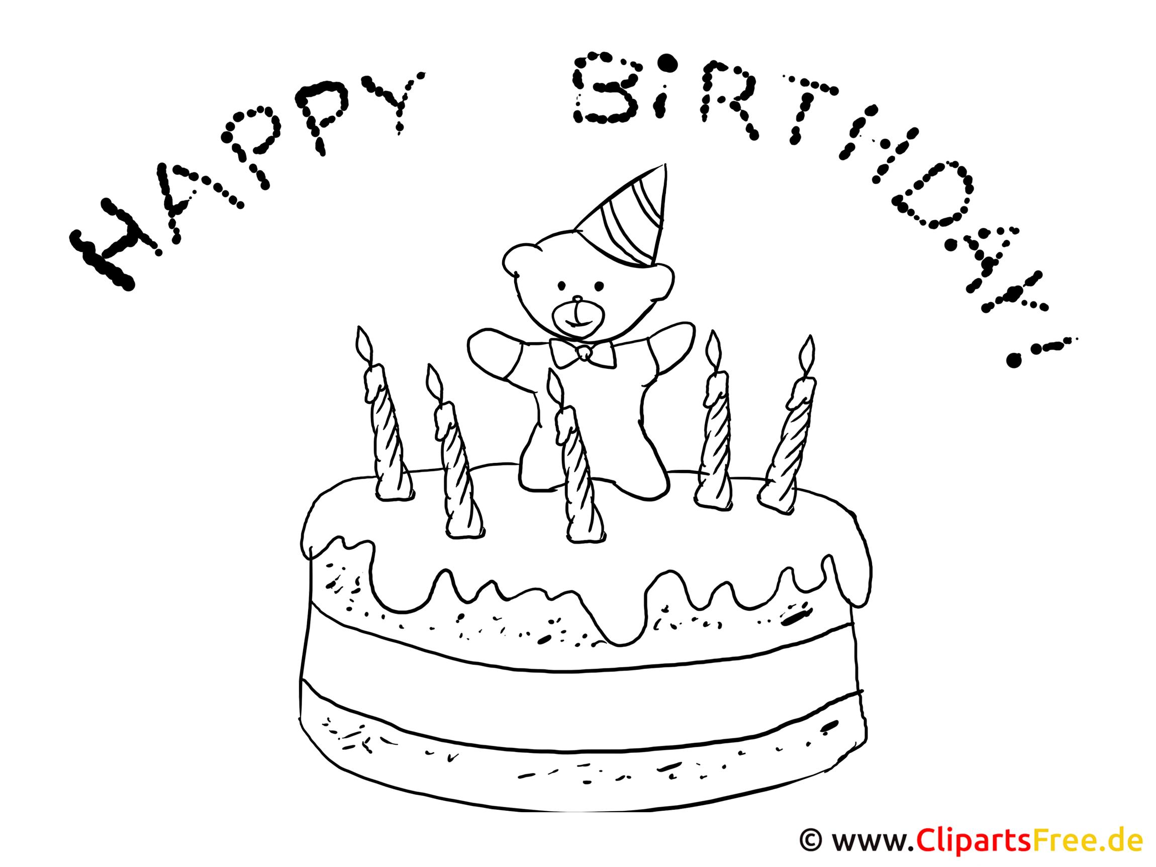 Ausmalbild Torte Zum Geburtstag für Ausmalbild Torte