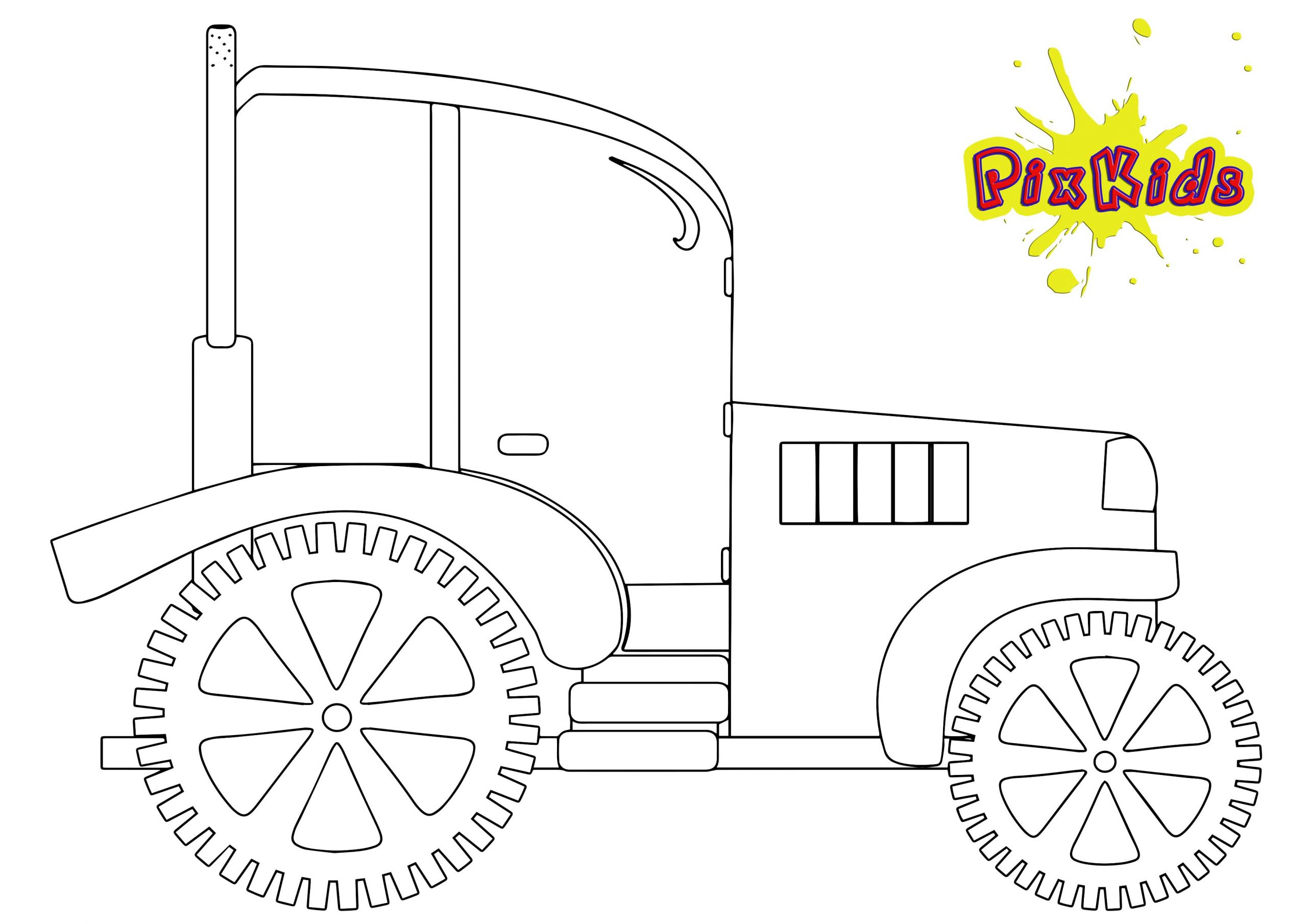 Ausmalbild Traktor Trecker - Kostenlose Malvorlagen mit Trecker Ausmalbild