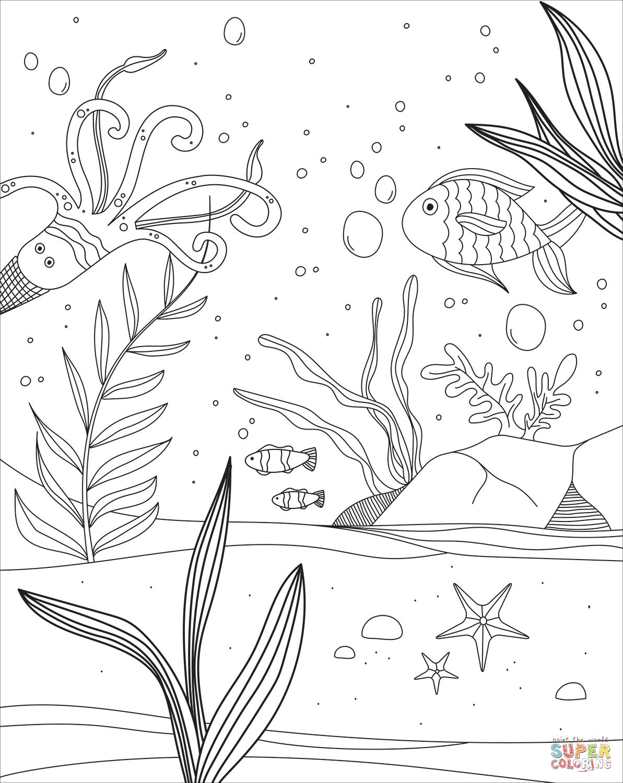 Ausmalbild: Unterwasserwelt | Ausmalbilder Kostenlos Zum in Ausmalbilder Unterwasserwelt