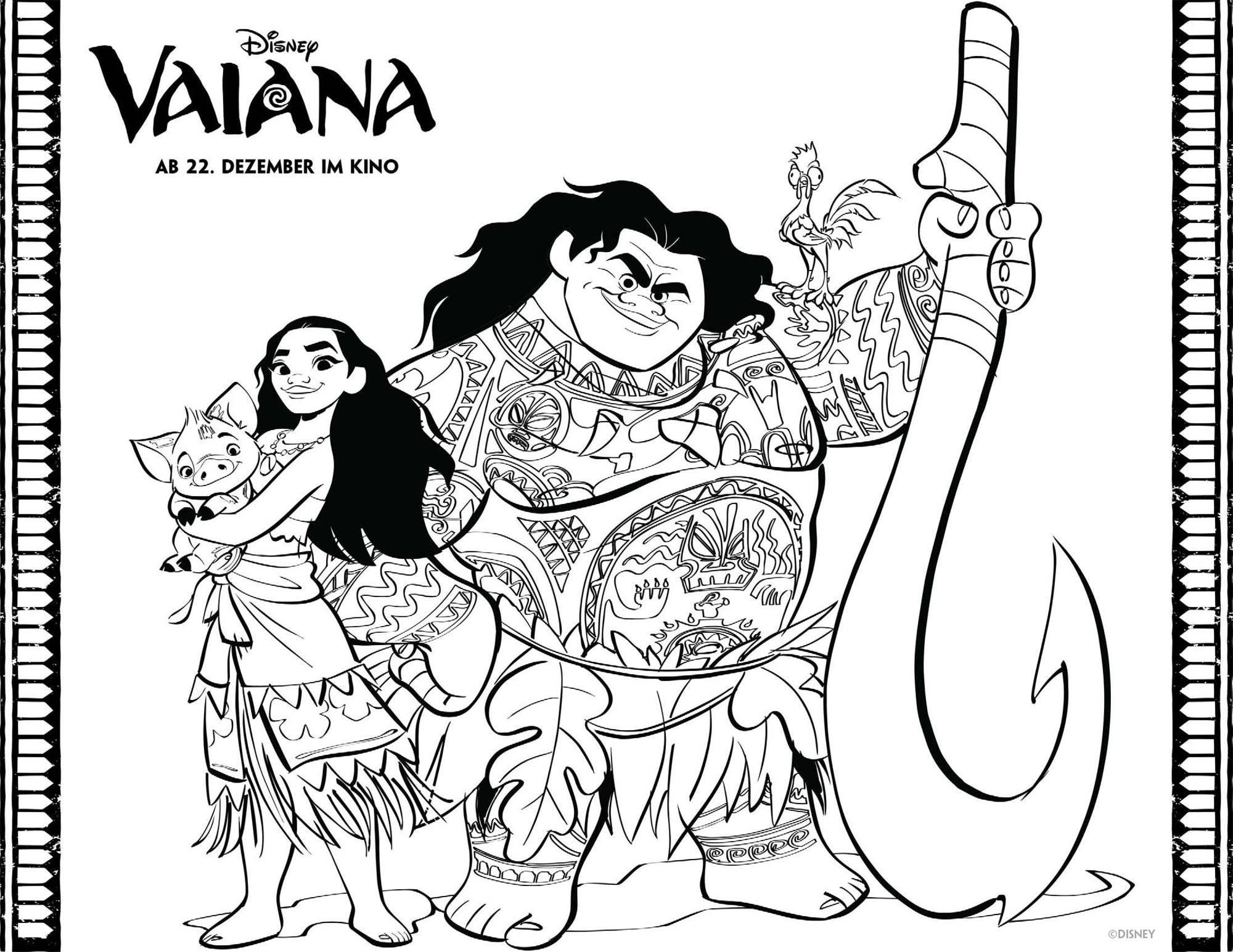 Ausmalbild Vaiana Malvorlage Und Maui Kostenlos Ausdrucken in Ausmalbilder Zum Drucken Disney
