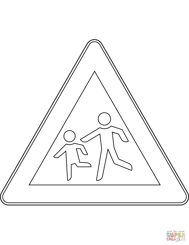 Ausmalbild: Verkehrszeichen In Deutschland: Kinder verwandt mit Verkehrsschilder Zum Ausmalen