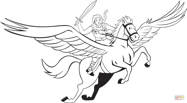 Ausmalbild: Walküre Reitet Pegasus | Ausmalbilder Kostenlos ganzes Pegasus Ausmalbilder