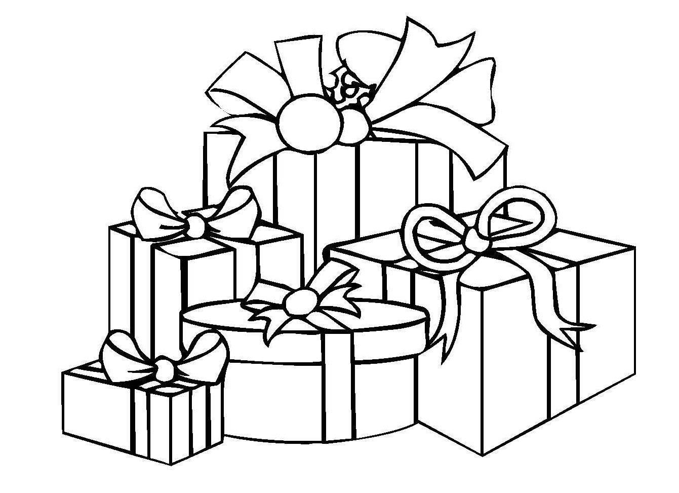 ausmalbild weihnachten: weihnachtsgeschenke kostenlos