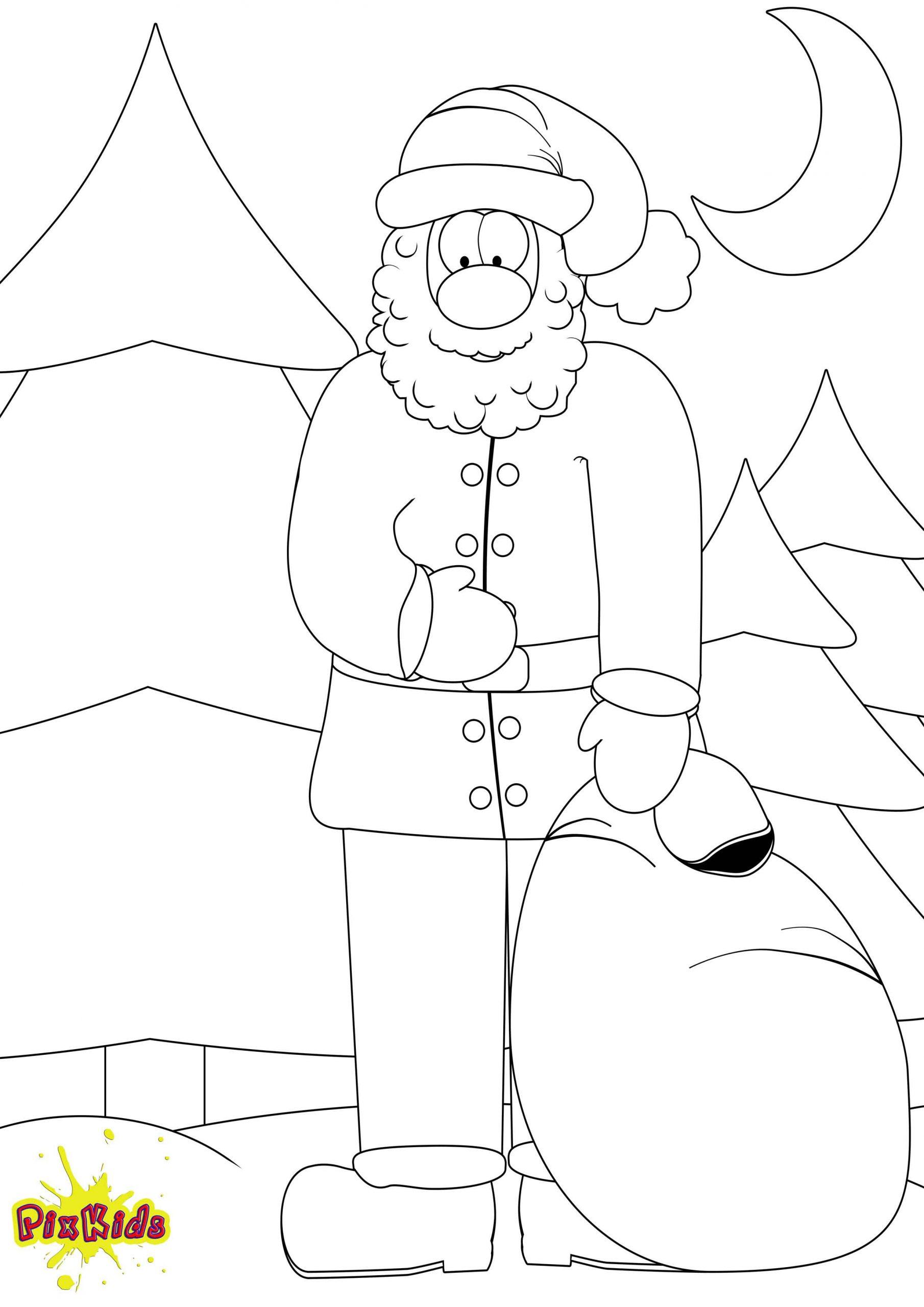 Ausmalbild Weihnachtsmann - Kostenlose Malvorlage für Ausmalbilder Weihnachtsmann Mit Schlitten