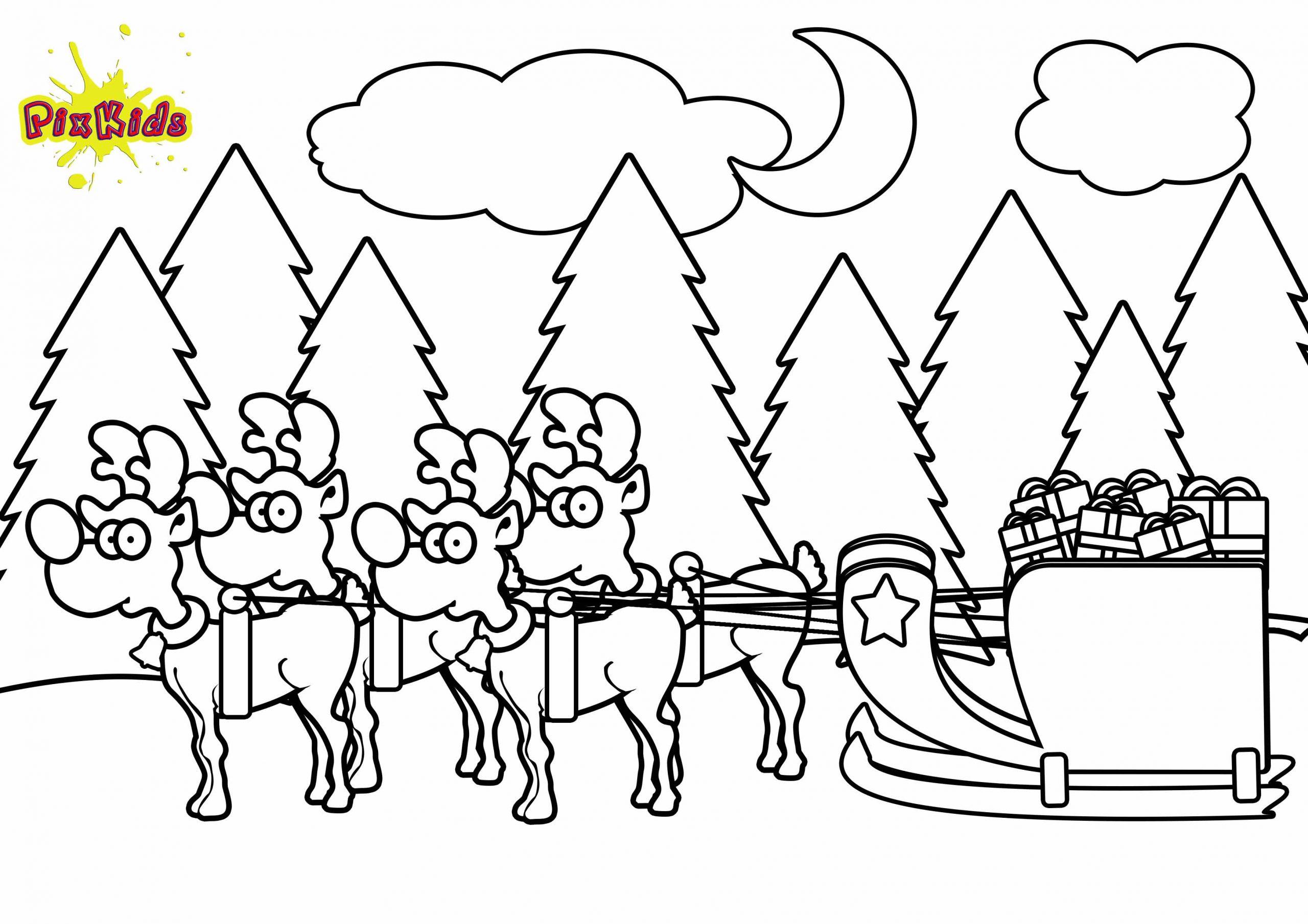 Ausmalbild Weihnachtsschlitten - Kostenlose Malvorlage mit Ausmalbilder Weihnachtsmann Mit Schlitten