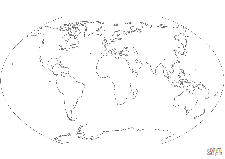 Ausmalbild: Weltkarte | Ausmalbilder Kostenlos Zum Ausdrucken verwandt mit Weltkarte Blanko