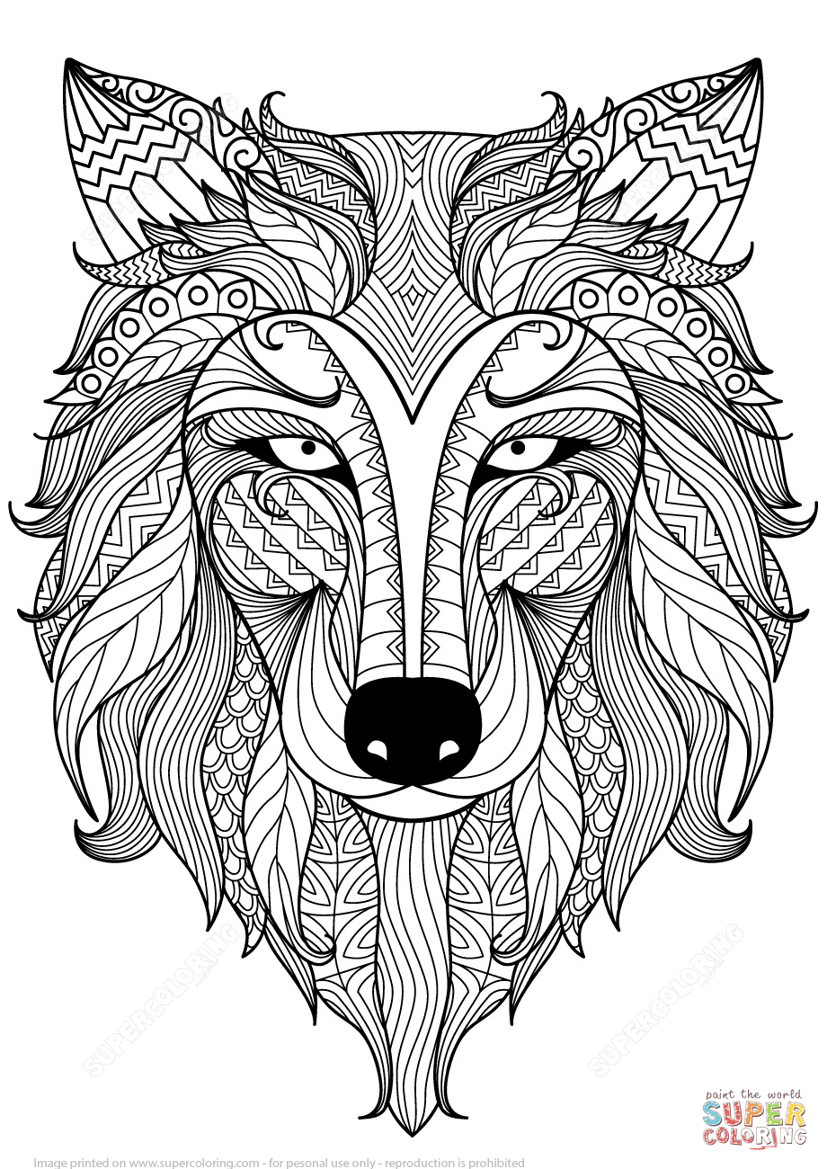 Ausmalbild: Wolf Zentangle. Kategorien: Zentangle bei Ausmalbilder Wölfe Kostenlos