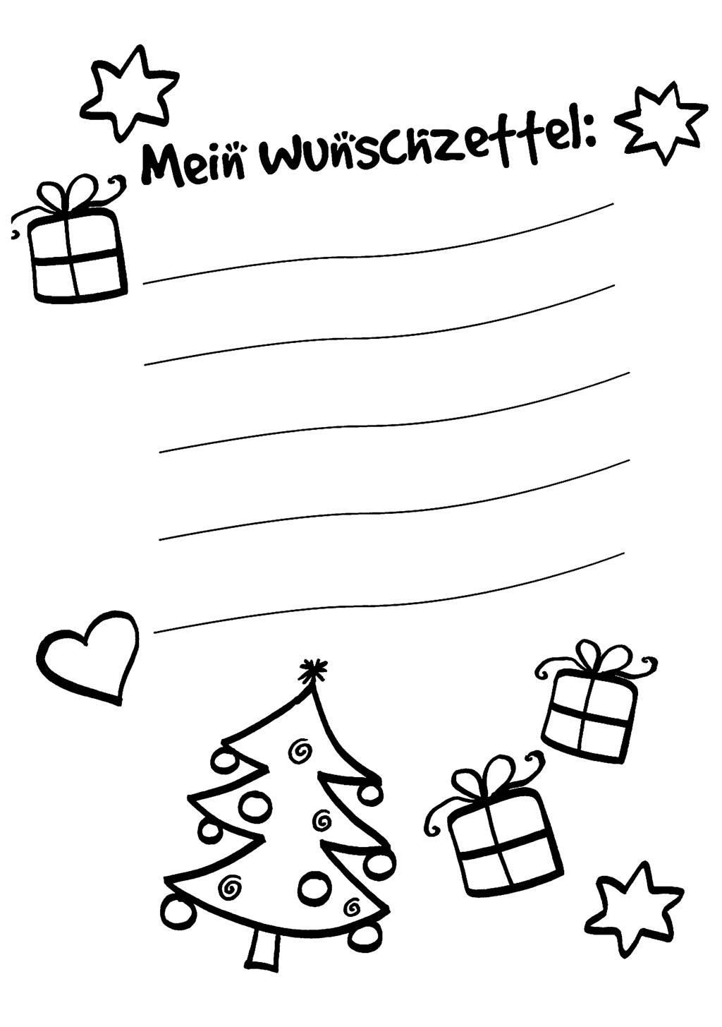 Ausmalbild Wunschzettel Für Weihnachten: Wunschzettel Zum innen Weihnachtswunschzettel Zum Ausdrucken