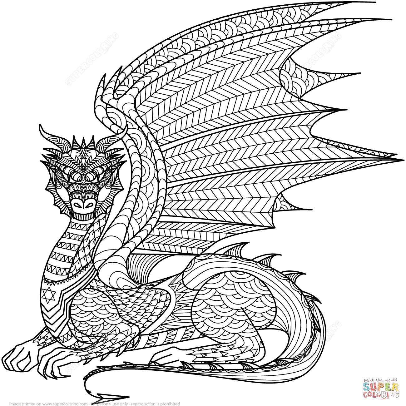Ausmalbild: Zentangel Drachen. Kategorien: Zentangle für Drachen Ausmalbilder Zum Ausdrucken