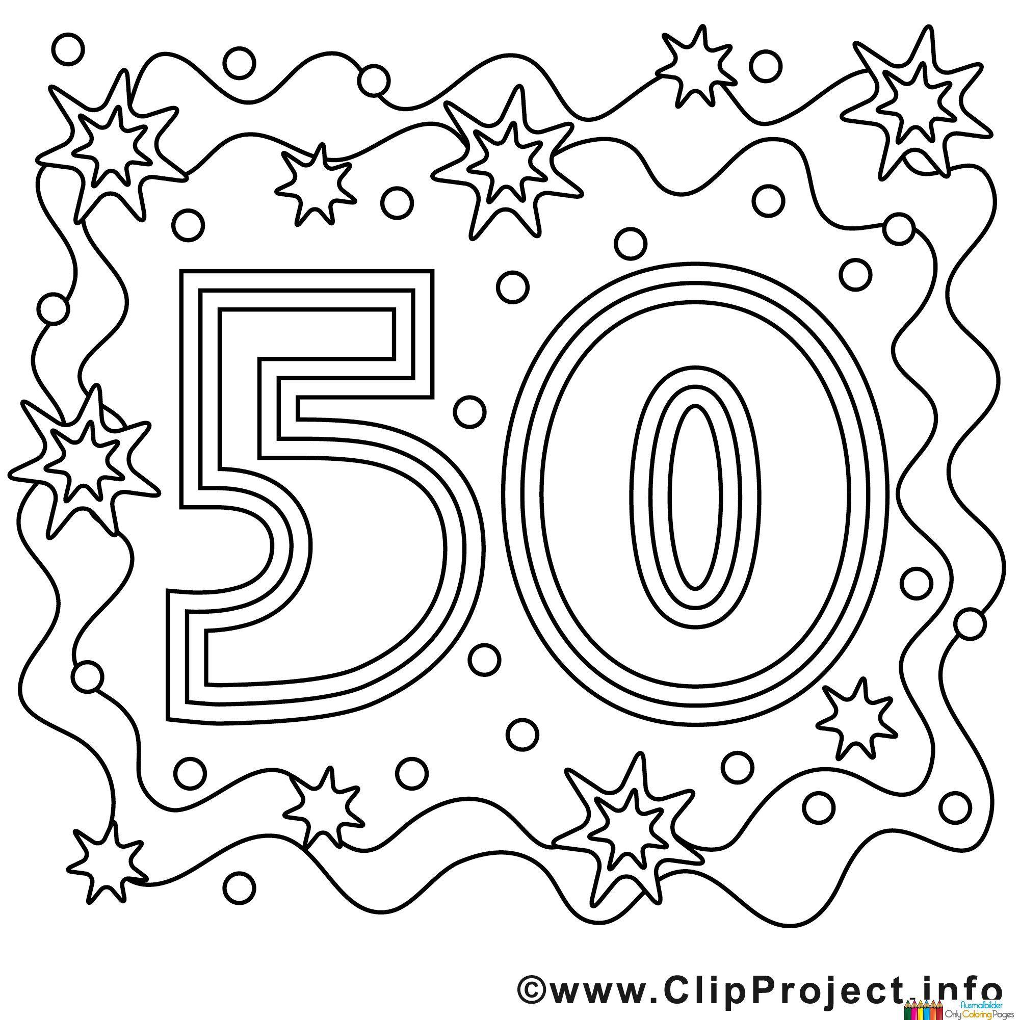 Ausmalbild Zum 50 Geburtstag | Ausmalbilder, Lustige bei Zahlenschablonen Zum Ausdrucken Kostenlos