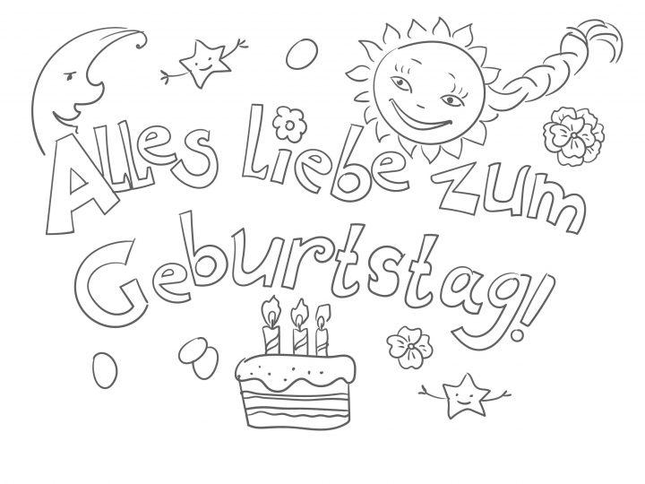 Ausmalbilder Alles Gute Zum Geburtstag. Drucken Sie Kostenlos bestimmt für Geburtstag Ausmalbilder