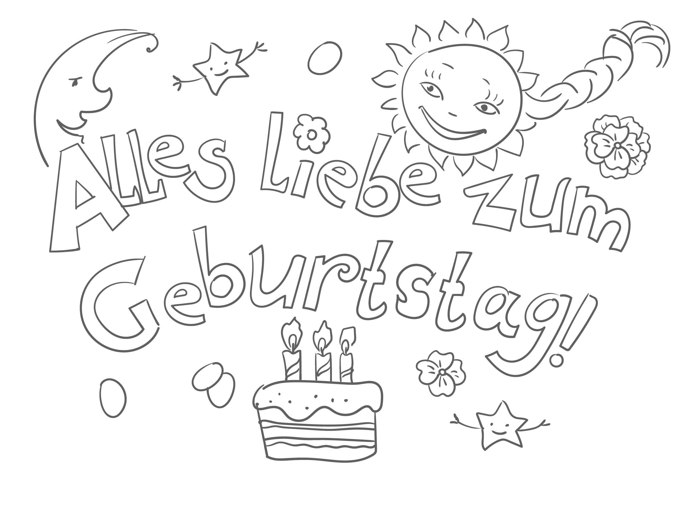 Ausmalbilder Alles Gute Zum Geburtstag. Drucken Sie Kostenlos bestimmt für Happy Birthday Ausmalbilder Kostenlos