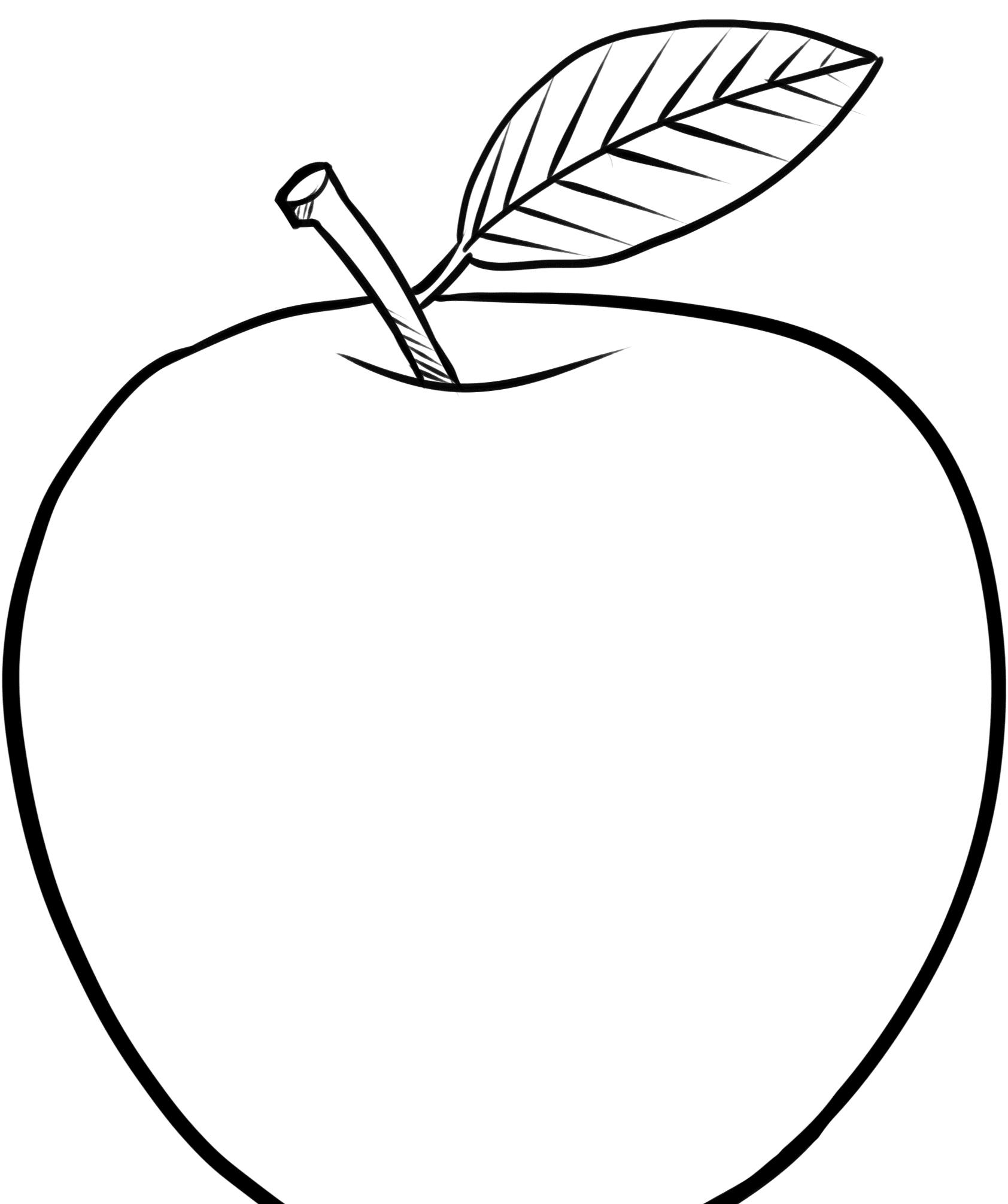Ausmalbilder Apfel, Vordruck Apfel Schablonen Zum Ausdrucken in Bastelvorlage Apfel