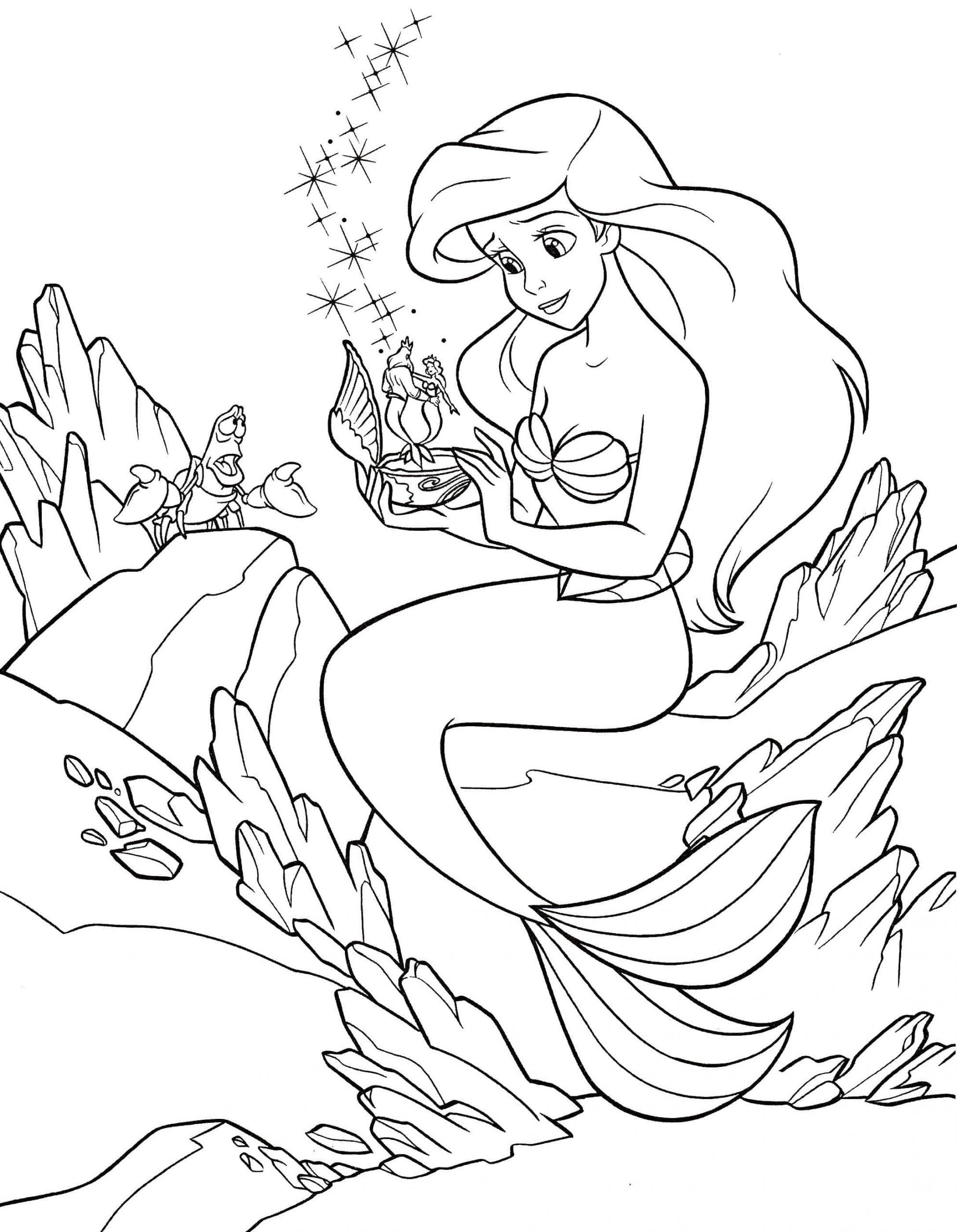 Ausmalbilder Arielle. Print Meerjungfrau, Die Schönsten Bilder innen Malvorlage Arielle