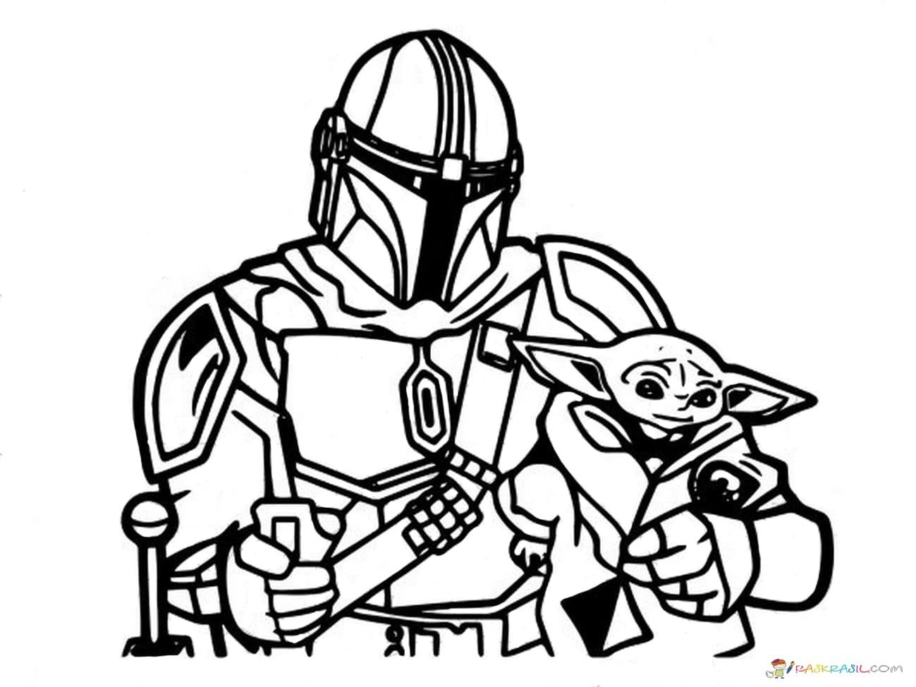 Ausmalbilder Baby Yoda. Mandalorian Und Baby Yoda Kostenlos bei Star Wars Bilder Zum Ausdrucken Kostenlos