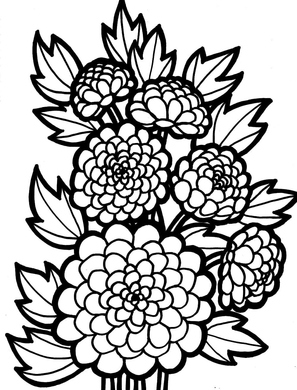 Ausmalbilder Blumen. Schöne Bilder Für Die Kreativität Der in Blumenstrauß Ausmalbilder