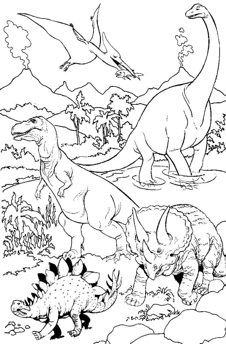 Ausmalbilder Dinosaurier. Große Sammlung Drucken innen Ausmalbilder Dinosaurier