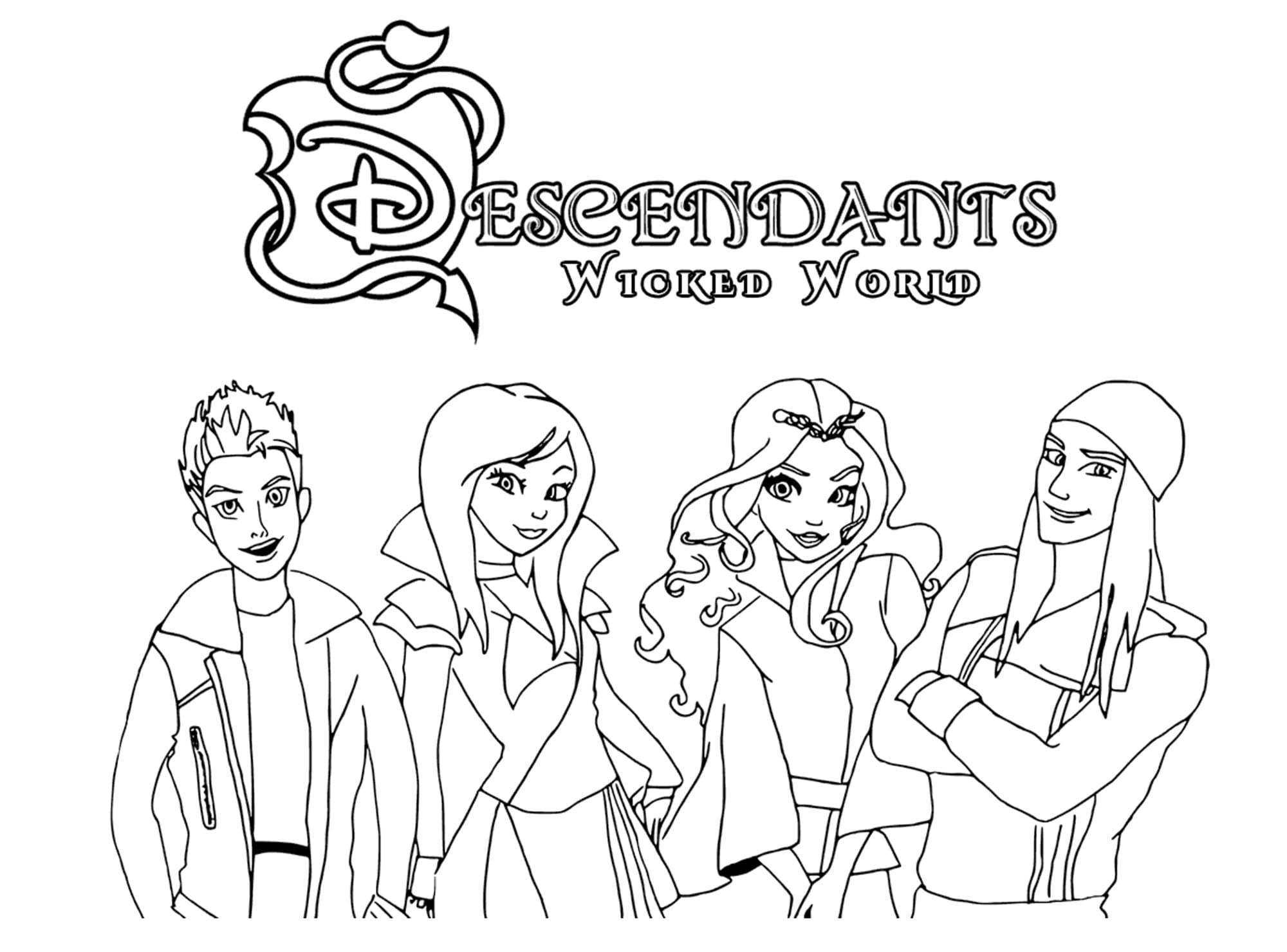 Ausmalbilder Erben (Descendants). Kostenlos Drucken Disney ganzes Malvorlagen Kostenlos Disney