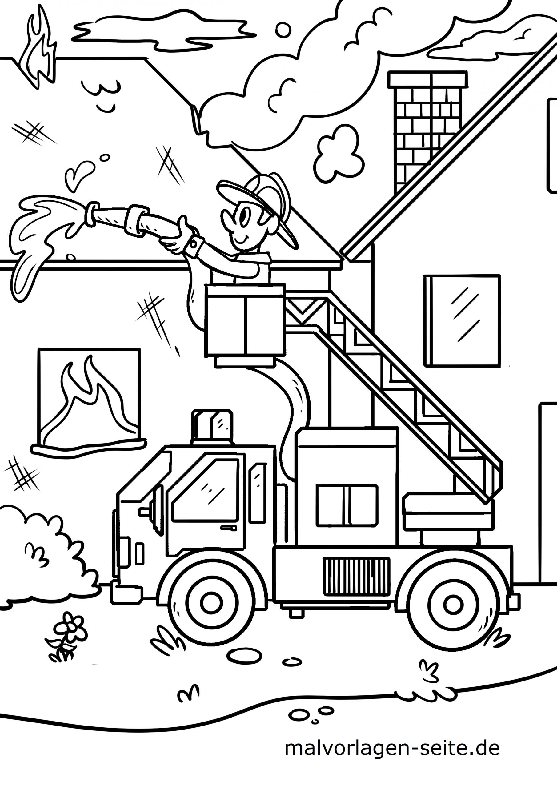 Ausmalbilder Feuerwehr Kostenlos Drucken Und Ausmalen Lassen für Feuerwehrauto Zum Ausmalen