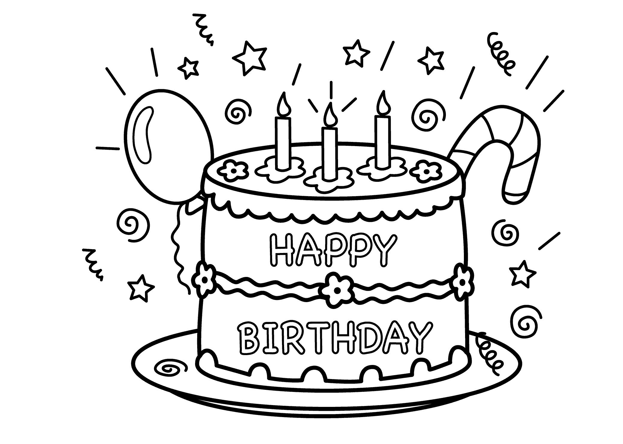 Ausmalbilder Geburtstag Bruder   Geburtstagstorte ganzes Ausmalbild Torte
