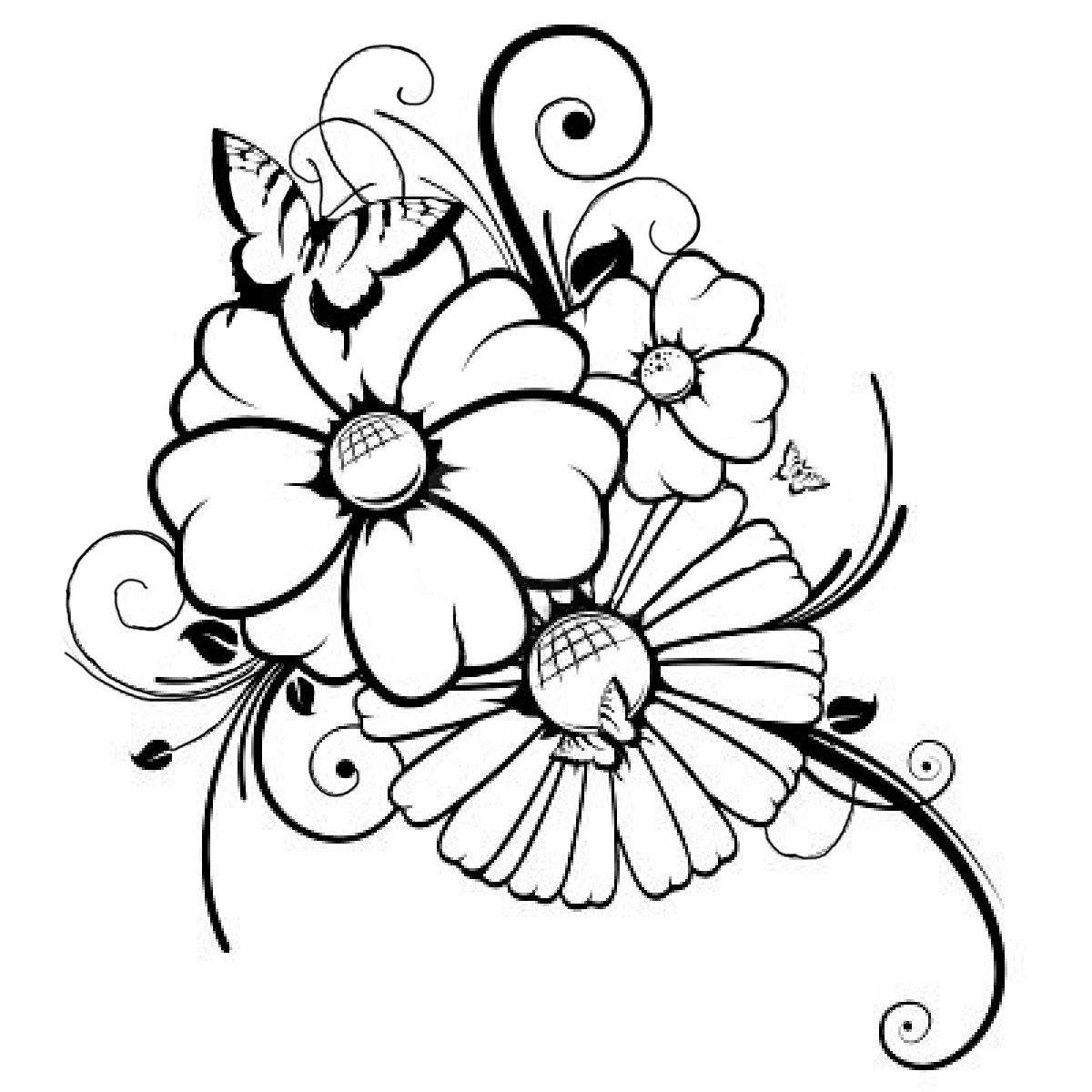 Ausmalbilder Gratis Blumen 2 | Ausmalbilder Gratis für Dinotrux Malvorlage
