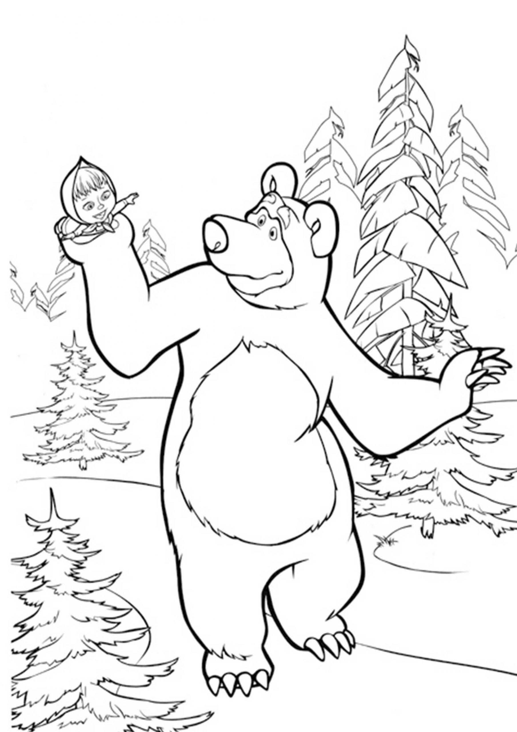 Ausmalbilder Mascha Und Der Bär 17   Ausmalbilder Zum Ausdrucken bei Bär Zum Ausmalen