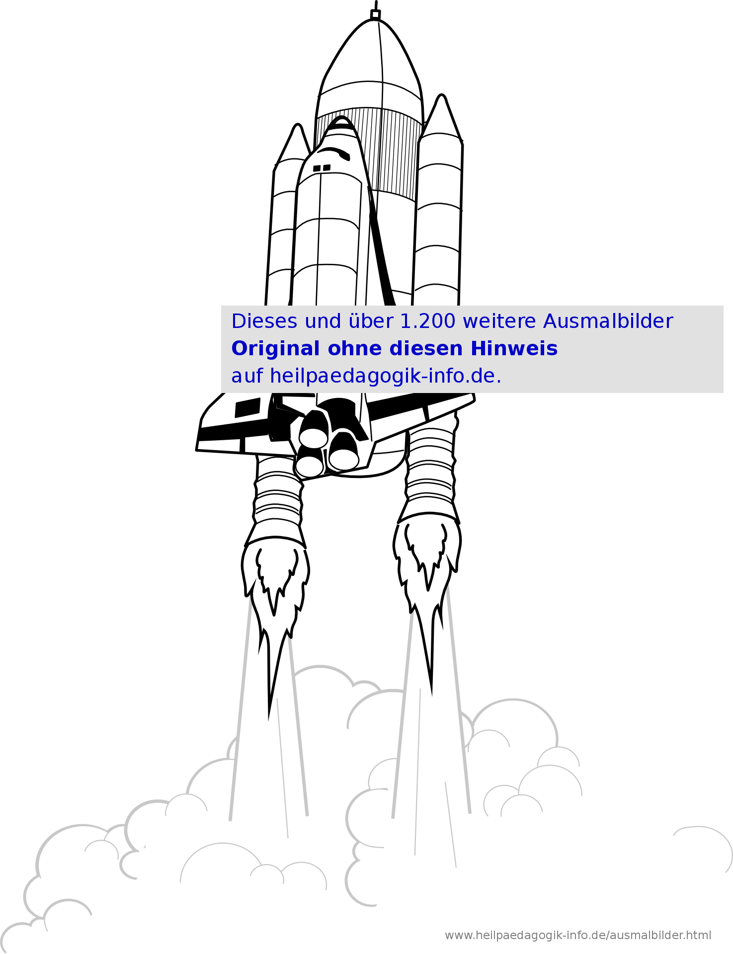 Ausmalbilder Raketen Und Weltall bei Malvorlage Rakete