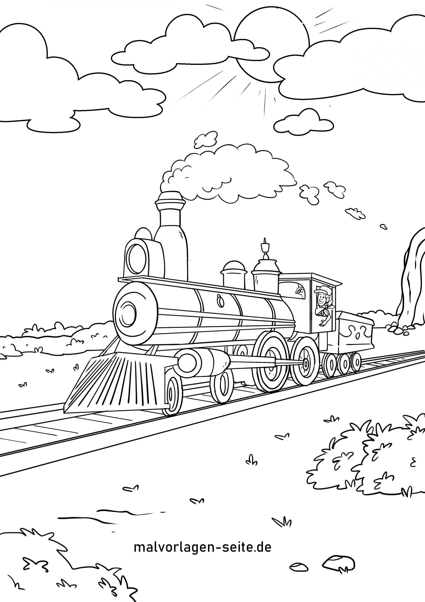 Ausmalbilder Rund Um Eisenbah, Zug Und Dampfender Lokomotive innen Eisenbahn Ausmalbilder